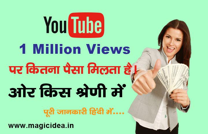YouTube पर 1 Million Views का कितना पैसा मिलता है?